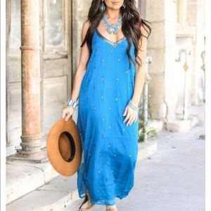 Stunning Teal Sequins and Bead Detail Maxi Dress